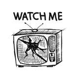 τρισδιάστατο λευκό TV ανασκόπησης απομονωμένο εικόνα Στοκ Φωτογραφία