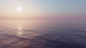 τρισδιάστατο ηλιοβασίλεμα θάλασσας πανοράματος τοπίων Στοκ φωτογραφίες με δικαίωμα ελεύθερης χρήσης