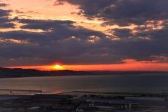 τρισδιάστατο ηλιοβασίλεμα θάλασσας πανοράματος τοπίων Στοκ εικόνες με δικαίωμα ελεύθερης χρήσης