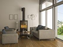 τρισδιάστατο θερμό καθιστικό απόδοσης με τον καναπέ Στοκ εικόνες με δικαίωμα ελεύθερης χρήσης