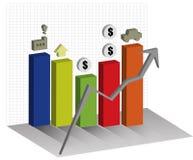 Τρισδιάστατο διάγραμμα γραφικών παραστάσεων οικονομιών επάνω στο υπόβαθρο τάσης Στοκ Φωτογραφίες