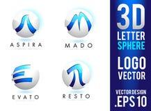 τρισδιάστατο διάνυσμα σχεδίου λογότυπων σφαιρών επιστολών Στοκ φωτογραφία με δικαίωμα ελεύθερης χρήσης