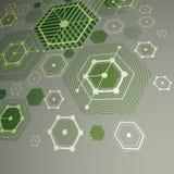 τρισδιάστατο διανυσματικό αφηρημένο πράσινο υπόβαθρο που δημιουργείται αναδρομικό sty Bauhaus Στοκ Εικόνες
