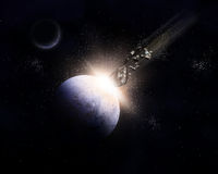 τρισδιάστατο διαστημικό υπόβαθρο με τους μετεωρίτες που συγκρούονται με τον πλανήτη Στοκ φωτογραφία με δικαίωμα ελεύθερης χρήσης