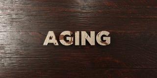 Τρισδιάστατο δικαίωμα γήρανσης - βρώμικος ξύλινος τίτλος στο σφένδαμνο - ελεύθερη εικόνα αποθεμάτων ελεύθερη απεικόνιση δικαιώματος