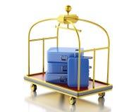 τρισδιάστατο κάρρο αποσκευών με τις μπλε βαλίτσες Στοκ Φωτογραφία