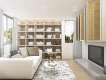 τρισδιάστατο καθαρό καθιστικό απόδοσης με το άσπρες ράφι πολυθρόνων και τη TV Στοκ Εικόνες