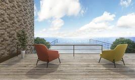 τρισδιάστατο καθιστικό άποψης θάλασσας απόδοσης καλό Στοκ Εικόνα