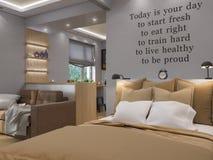 τρισδιάστατο καθιστικό απόδοσης, κρεβατοκάμαρα και εσωτερικό σχέδιο κουζινών Στοκ Φωτογραφίες