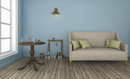 τρισδιάστατο καθιστικό τοίχων απόδοσης μπλε με τα καλά χαρακτηριστικά έπιπλα Στοκ φωτογραφία με δικαίωμα ελεύθερης χρήσης