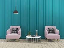 τρισδιάστατο καθιστικό τοίχων απόδοσης πράσινο σύγχρονο με τη μαλακή πολυθρόνα Στοκ Εικόνες