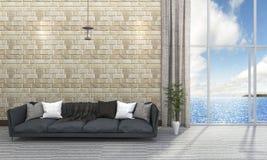 τρισδιάστατο καθιστικό τουβλότοιχος απόδοσης όμορφο με τον μπλε καναπέ κοντά στη θάλασσα Στοκ φωτογραφία με δικαίωμα ελεύθερης χρήσης