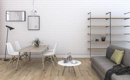 τρισδιάστατο καθιστικό τούβλου απόδοσης συμπαθητικό εκλεκτής ποιότητας με χτισμένος στα έπιπλα Στοκ Εικόνα