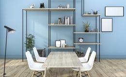 τρισδιάστατο καθιστικό ύφους απόδοσης μπλε με τη διακόσμηση ραφιών Στοκ Φωτογραφία