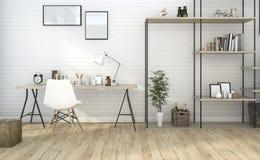 τρισδιάστατο καθιστικό ύφους τούβλου απόδοσης με χτισμένος στο ράφι Στοκ φωτογραφία με δικαίωμα ελεύθερης χρήσης