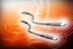 τρισδιάστατο καλώδιο usb για να συνδέσει με τους υπολογιστές Στοκ Εικόνες