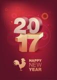 τρισδιάστατο κείμενο 2017 με τη σκιά στο λαμπρό κόκκινο υπόβαθρο celebration chinese new year Έτος του κόκκορα Κάθετο σχήμα Στοκ Φωτογραφία
