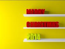 τρισδιάστατο κείμενο Χριστουγέννων στο δωμάτιο Στοκ Φωτογραφία
