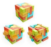 τρισδιάστατο κιβώτιο κύβος Δημιουργήστε την έννοια Στοκ φωτογραφία με δικαίωμα ελεύθερης χρήσης
