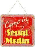 τρισδιάστατο κοινωνικό λευκό σημαδιών μέσων πρότυπο Στοκ Εικόνες