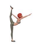 τρισδιάστατο κορίτσι γυμναστικής που κάνει την άσκηση διανυσματική απεικόνιση
