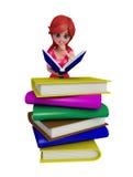 τρισδιάστατο κορίτσι με τα βιβλία διανυσματική απεικόνιση