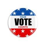 τρισδιάστατο κουμπί αμερικανικής ψηφοφορίας Στοκ Εικόνα