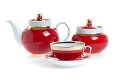 τρισδιάστατο κόκκινο καθορισμένο τσάι dishware Στοκ φωτογραφία με δικαίωμα ελεύθερης χρήσης