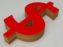 τρισδιάστατο κόκκινο και ξύλινο σημάδι δολαρίων Στοκ Εικόνα