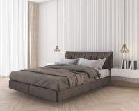τρισδιάστατο μαλακό και άνετο καφετί κρεβάτι απόδοσης στην ελάχιστη κρεβατοκάμαρα Στοκ Φωτογραφία