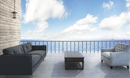 τρισδιάστατο μεγάλο πεζούλι απόδοσης με το μπαλκόνι κοντά στη θάλασσα Στοκ Φωτογραφίες