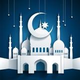 τρισδιάστατο μουσουλμανικό τέμενος και ημισεληνοειδές φεγγάρι με τα αστέρια - Ramadan Kareem ή Ramaz