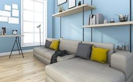 τρισδιάστατο μπλε εκλεκτής ποιότητας καθιστικό απόδοσης με τη διακόσμηση Στοκ Φωτογραφία