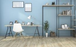 τρισδιάστατο μπλε καθιστικό απόδοσης με χτισμένος στο ράφι Στοκ εικόνες με δικαίωμα ελεύθερης χρήσης