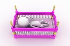 τρισδιάστατο μωρό στο λίκνο Στοκ Εικόνα