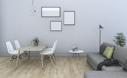 τρισδιάστατο να δειπνήσει και καθιστικό τοίχων απόδοσης όμορφο εκλεκτής ποιότητας γκρίζο Στοκ εικόνες με δικαίωμα ελεύθερης χρήσης