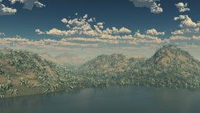 τρισδιάστατο νησί βουνών με με το περιβάλλον μιγμάτων και τα διεσπαρμένα σύννεφα Στοκ Εικόνες