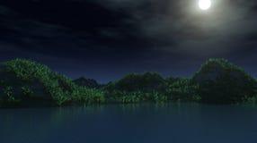 τρισδιάστατο νησί βουνών με με το περιβάλλον μιγμάτων κατά τη διάρκεια της νύχτας με το φεγγάρι Στοκ φωτογραφία με δικαίωμα ελεύθερης χρήσης