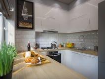 τρισδιάστατο ντεκόρ κουζινών απόδοσης Εσωτερικό σχέδιο σε ένα σύγχρονο ύφος Στοκ Εικόνα