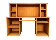 τρισδιάστατο ξύλινο γραφείο απόδοσης στο λευκό Στοκ Φωτογραφία