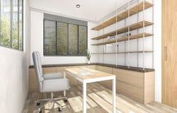 τρισδιάστατο ξύλινο λειτουργώντας δωμάτιο απόδοσης με την υπαίθρια ατμόσφαιρα Στοκ φωτογραφία με δικαίωμα ελεύθερης χρήσης