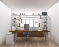 τρισδιάστατο ξύλινο πάτωμα απόδοσης με το λειτουργώντας δωμάτιο ραφιών Στοκ φωτογραφία με δικαίωμα ελεύθερης χρήσης