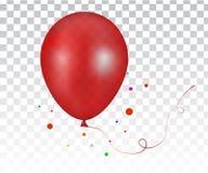 τρισδιάστατο ρεαλιστικό κόκκινο ζωηρόχρωμο μπαλόνι Στοκ Εικόνα