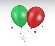 τρισδιάστατο ρεαλιστικό κόκκινο και πράσινο ζωηρόχρωμο μπαλόνι Στοκ Εικόνα