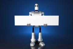 τρισδιάστατο ρομπότ που κρατά ένα κενό έμβλημα Περιέχει το μονοπάτι ψαλιδίσματος ελεύθερη απεικόνιση δικαιώματος