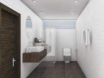 τρισδιάστατο δρύινο ξύλο απόδοσης και άσπρο λουτρό τοίχων κεραμιδιών τούβλου Στοκ Εικόνες