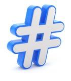 τρισδιάστατο σημάδι μπλε-λευκού hashtag Στοκ Φωτογραφία
