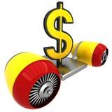 τρισδιάστατο σημάδι δολαρίων στην πετώντας μηχανή Στοκ Εικόνα