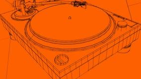 Τρισδιάστατο σκίτσο περιστροφικών πλακών του DJ απεικόνιση αποθεμάτων