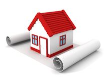 τρισδιάστατο σπίτι έννοιας με το γκαράζ σε χαρτί σχεδίων κυλίνδρων Στοκ Φωτογραφία